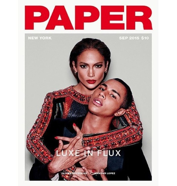 Jennifer Lopez and Oliver Rousteing pose for Paper Magazine front cover shoot, 27th August 2015