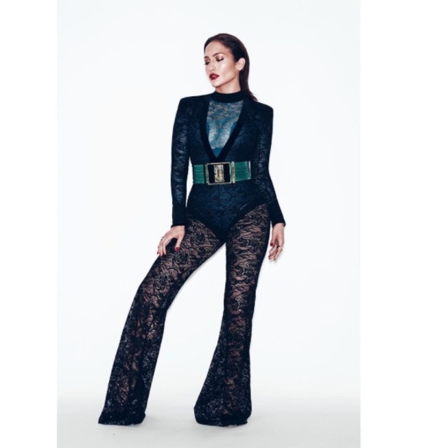 Jennifer Lopez poses for Paper Magazine shoot in lace jumpsuit, 27th August 2015