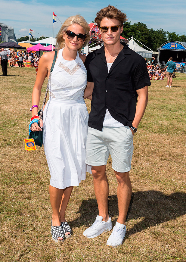 Pixie Lott and Oliver Cheshire in the Virgin Media Louder Lounge at V Festival, Chelmsford 22 Aug 2015