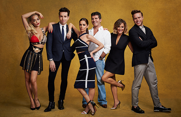 RITA ORA, NICK GRIMSHAW, SIMON FERNADEZ-VERSINI, SIMON COWELL, CAROLINE FLACK AND OLLY MURS. X Factor judges and presenter lineup 2015