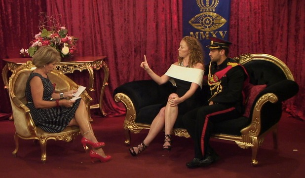 CBB: Natasha Hamilton and James Hill take part in Royal Family task - 4 September 2015.