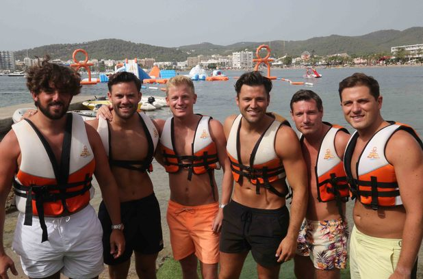 Ocean Mania: Michelle Keegan, Brooke Vincent, Mark Wright and Dean Gaffney attend the water wipe out park 1 September 2015