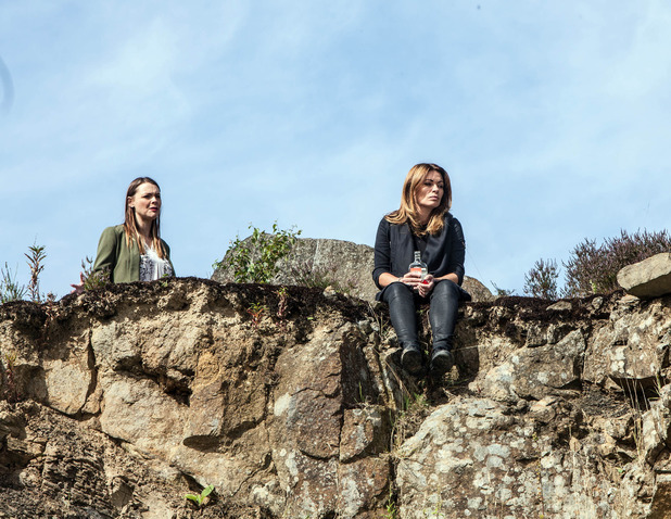 Corrie, Carla and Tracy on a quarry, Mon 7 Sep