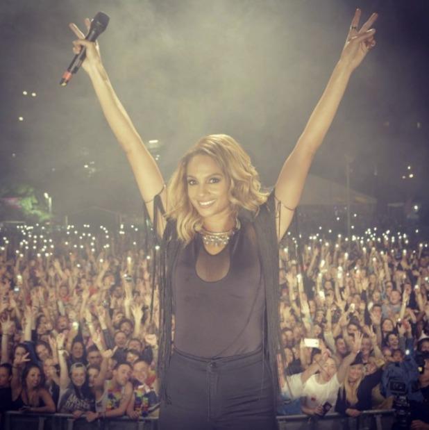 Alesha Dixon, on stage, 30 August 2015