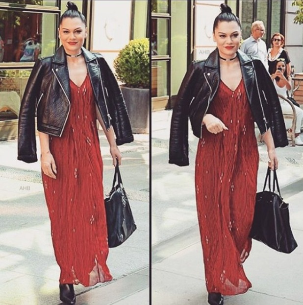 Jessie J's chooses deep red lipstick after having a conundrum earlier in the day, 2 September 2015