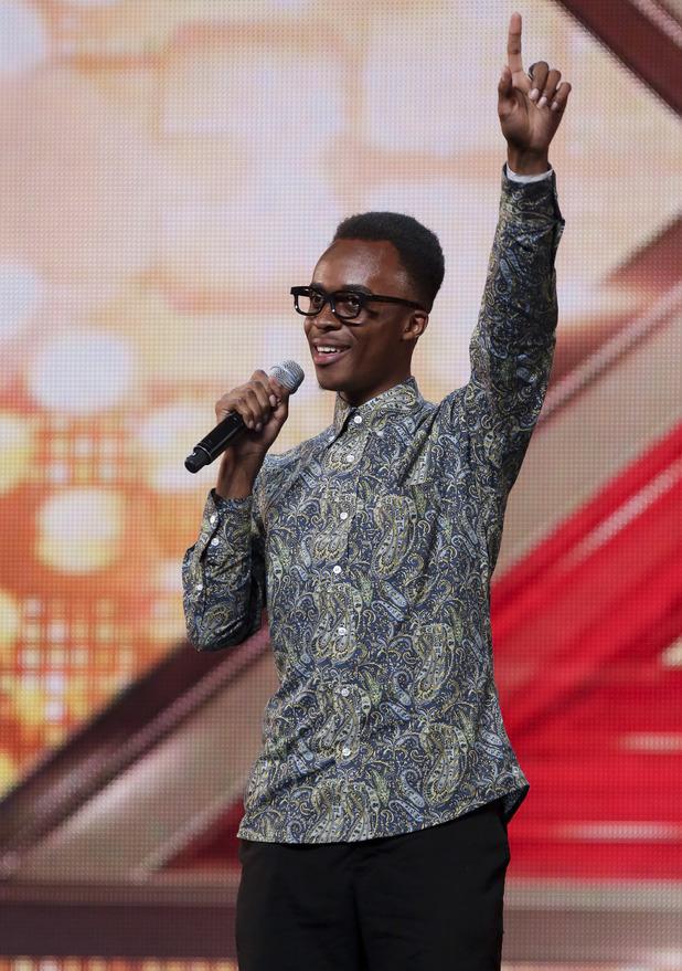 X Factor hopeful Andre Batchelor at arena auditions - Wembley. July 2015.