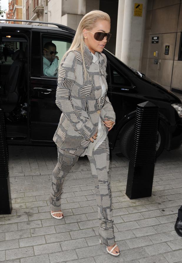 Rita Ora arrives at BBC radio 1, 2nd September 2015