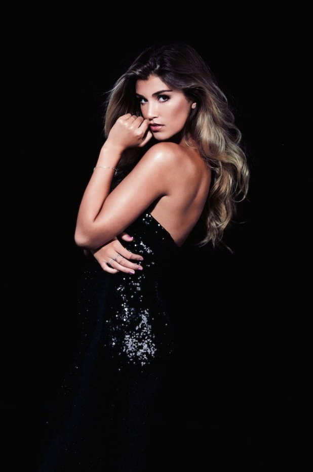 Amy Willerton posing in black sequin bodycon dress for Lipstick Boutique's A/W15 Sistaglam collection, 1st September 2015