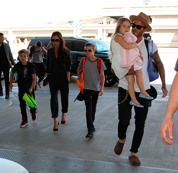 David Beckham, wife Victoria and their four children arrive at Los Angeles International Airport (LAX)