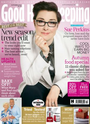Great British Bake Off - Sue Perkins is cover star of Good Housekeeping October 2015