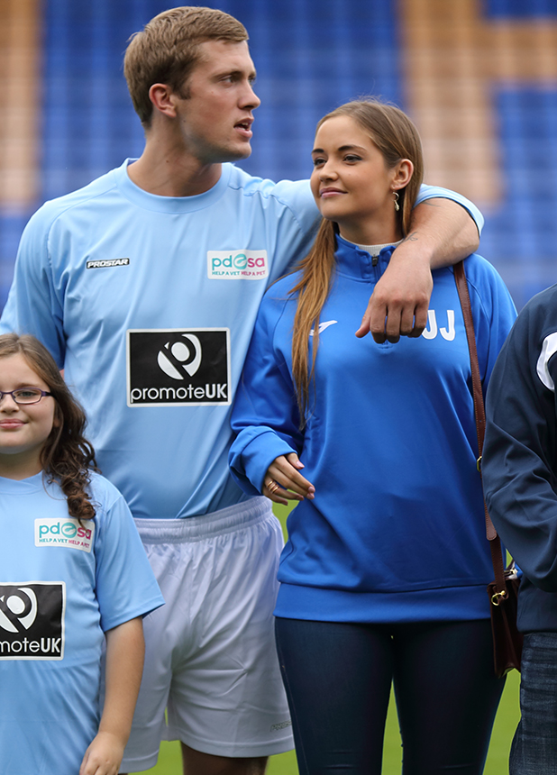 PDSA Celebrity football match, Shrewsbury, Britain - 30 Aug 2015 Jacqueline Jossa and Dan Osborne