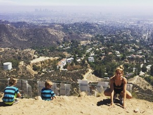 Stacey Solomon in LA with her two sons August 2015