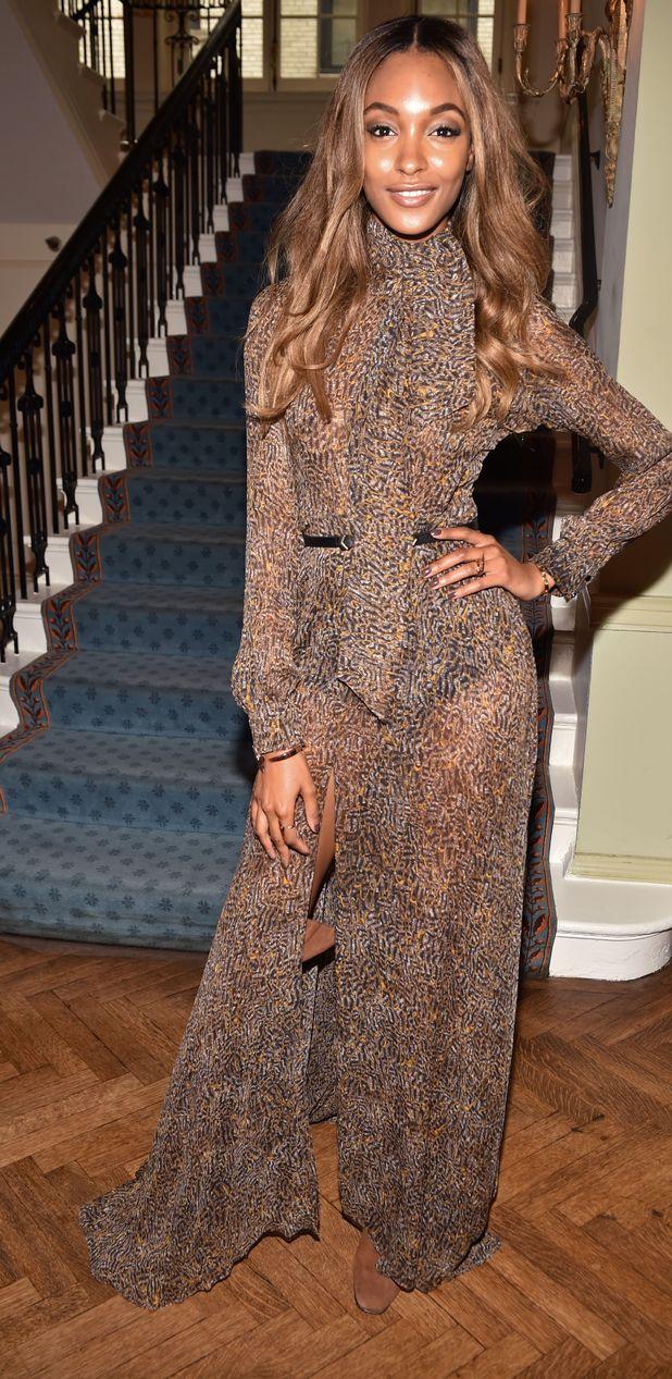 Jourdan Dunn wears leopard print jumpsuit at W Luncheon in New York 10th September 2015