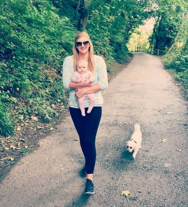 Rebecca Adlington enjoys an afternoon stroll with daughter Summer and dog, 10th September 2015