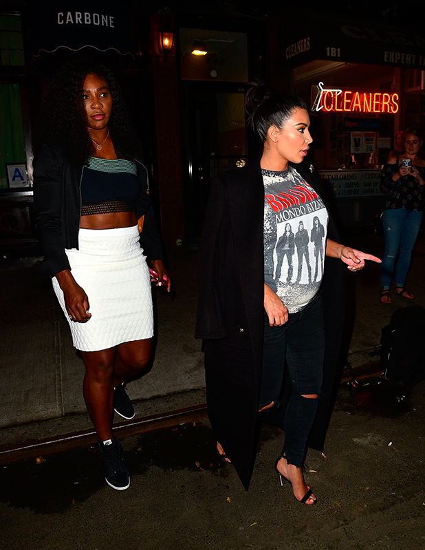 Serena Williams and Kim Kardashian leave Carbone on September 7, 2015 in New York City.