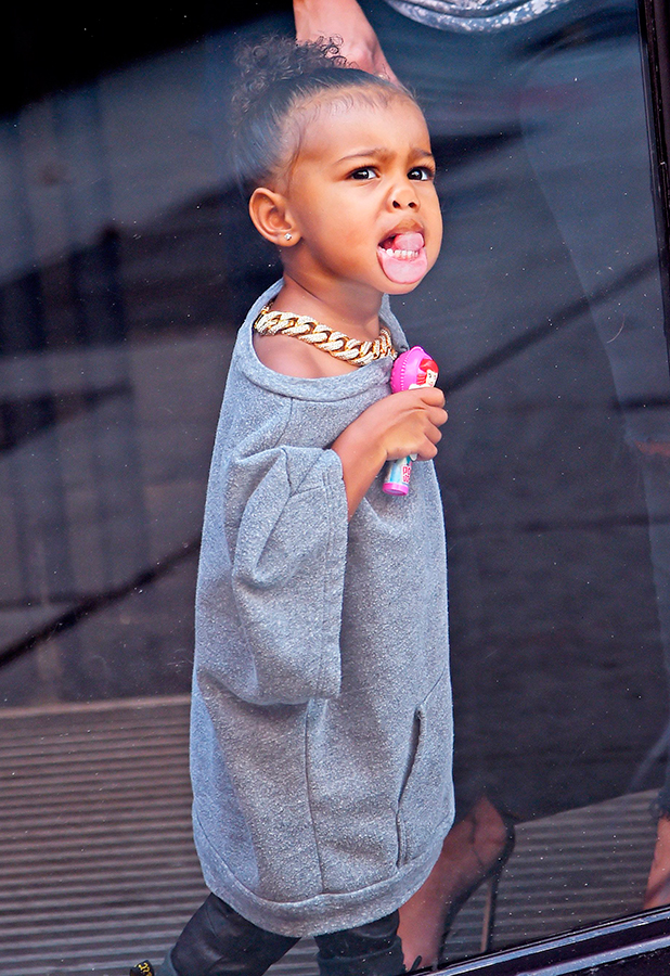 Kim Kardashian and North West out and about, New York, America - 07 Sep 2015