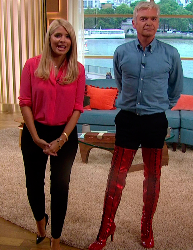 Phillip Schofield wears red over-the-knee lace up boots from 'Kinky Boot' on 'This Morning' Broadcast on ITV1 HD