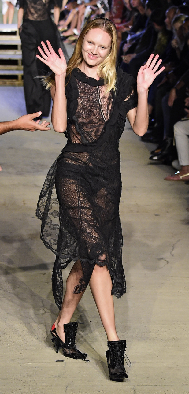 Candice Swanepoel falls over on the catwalk at New York Fashion Week, 14th September 2015