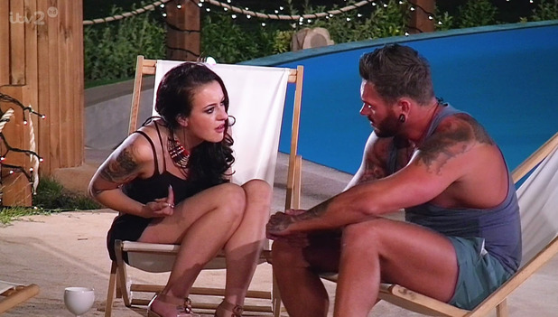Jordan Ring is confronted by ex girlfriend Jasmine Love Island couples. Broadcast on ITV2 HD. 15 July 2015.