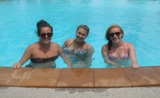 Lucy, Danielle and Siobhan at The Beach Village Backpackers, Koh Phangan, Thailand. 14/9/15