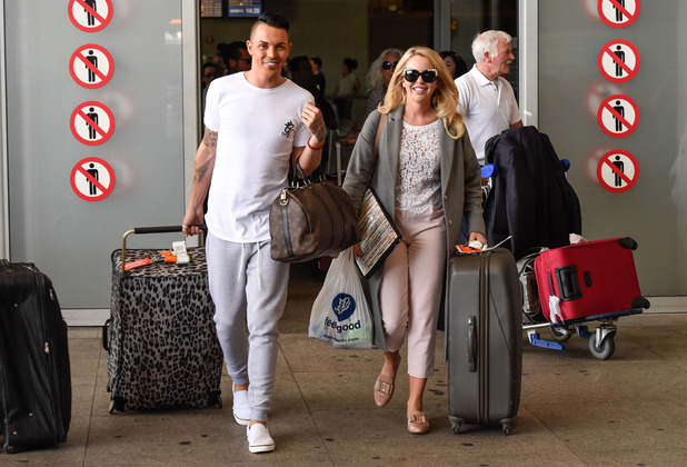 TOWIE stars Bobby Norris and Lydia Bright arrive in Marbella for filming The Only Way Is Marbs, 20 September 2015