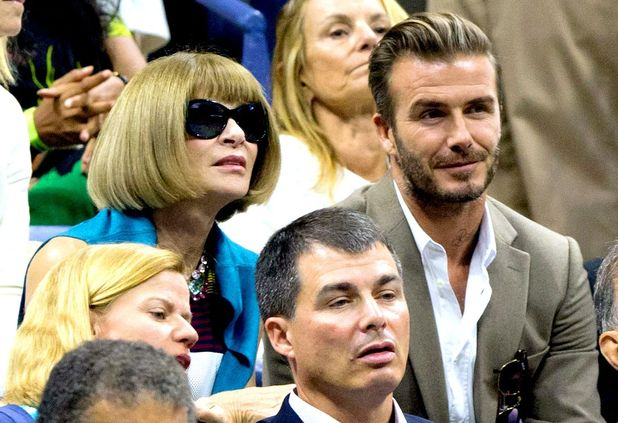 Anna Wintour and David Beckham at the US Open Tennis Championships in New York, 14th September 2015