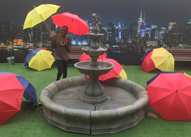 Comedy Central's FriendsFest - outside courtyard with umbrellas - 16 September 2015.