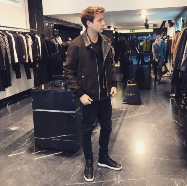 Made in Chelsea's Sam Thompson trying on clothes, 16th September 2015