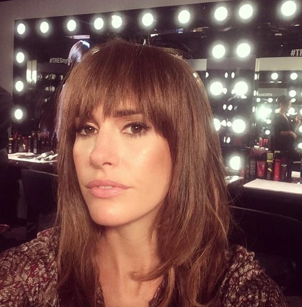 Louise Roe plays around with a clip-in fringe to recreate Tresemmé look at Rebecca Minkoff A/W show in New York, 14 September 2015