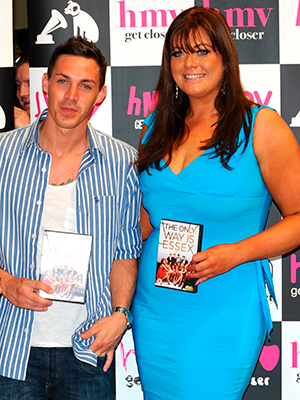 Harry Derbridge, Sam Faiers, Kirk Norcross & Gemma Collins. Signing copies of the new 'The Only Way is Essex' DVD. HMV, Westfield, Stratford, East London. London, England - 29.09.11