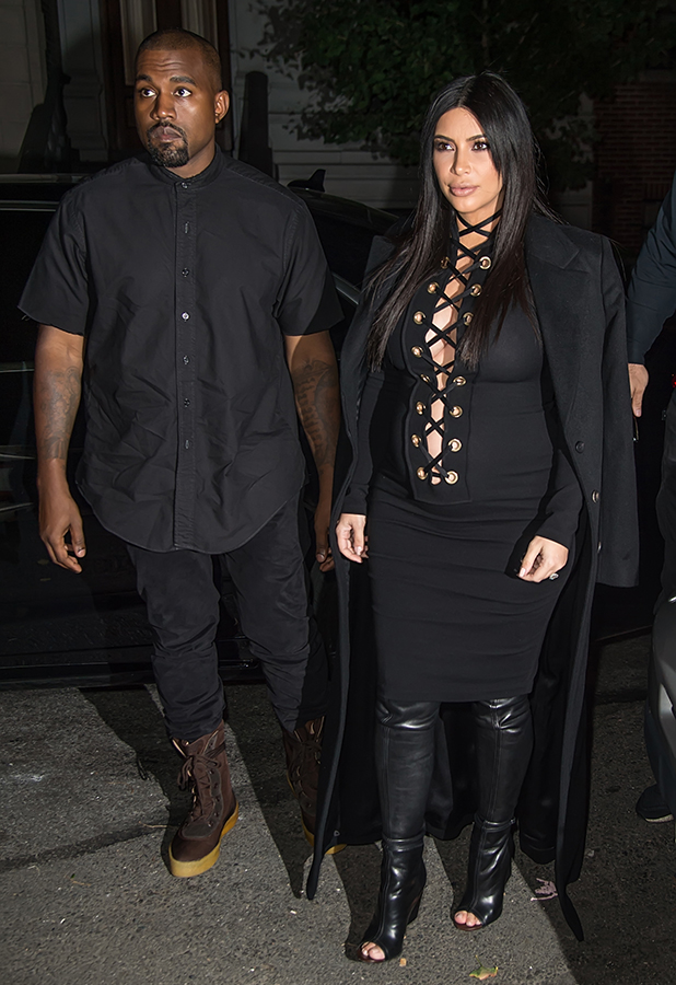 Kanye West and Kim Kardashian West are seen on the Upper East Side during Spring 2016 New York Fashion Week on September 14, 2015 in New York City. (Photo by Gilbert Carrasquillo/FilmMagic)