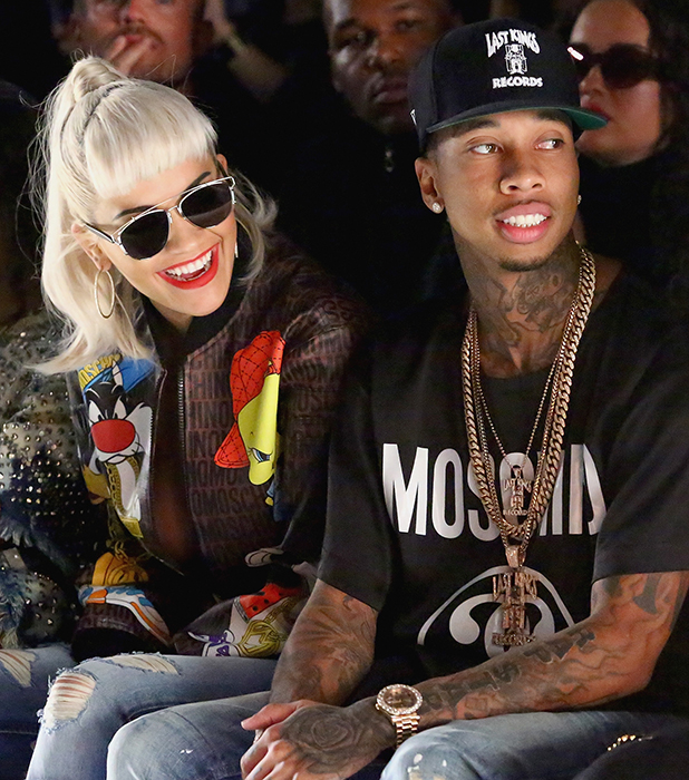 Singer Rita Ora (L) and rapper Tyga at Jeremy Scott with Kagome Greens at Skylight at Moynihan Station on September 14, 2015 in New York City. (Photo by Astrid Stawiarz/Getty Images for Kagome Greens)