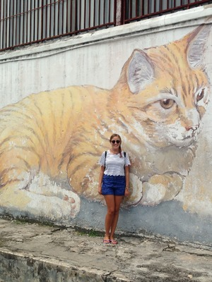 Ginger cat artwork from '101 Lost Kittens' project in George Town, Malaysia. 24/9/15