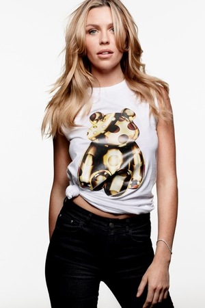 Abbey Clancy models the Children In Need 2015 t-shirt designed by Giles Deacon, September 2015
