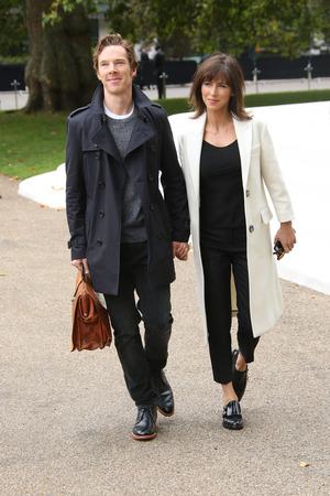 Benedict Cumberbatch, Sophie Hunter arrives at London Fashion Week Spring/Summer 2016 - Burberry, 21st September 2015