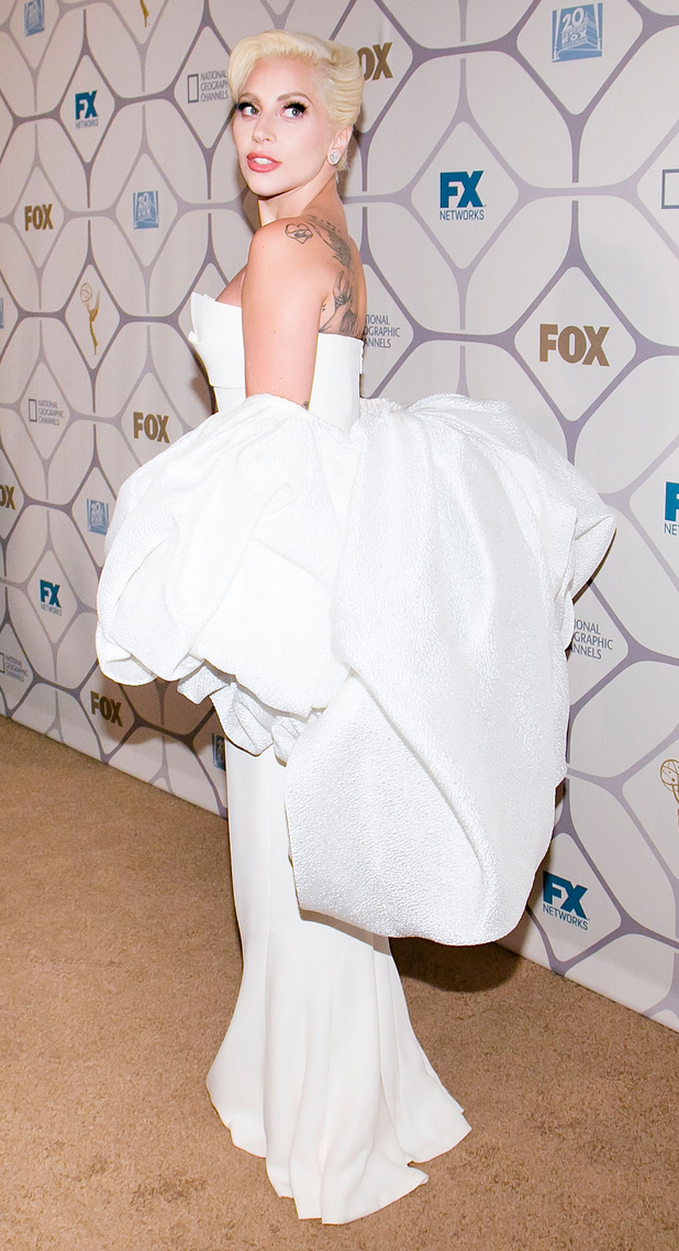 Lady Gaga wears white dress at the Emmys after party in Los Angeles 21st September 2015