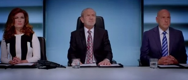 Lord Alan Sugar returns to the boardroom with his advisors Karren Brady and Claude Littner. 22 September 2015.
