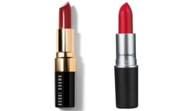Bobbi Brown Rose Berry Lipstick, £20 and Mac Lady Danger Red Lipstick, £15.50
