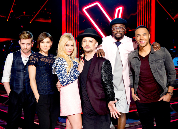 The Voice judges and hosts pose together as they film blind auditions, 25 September 2015.