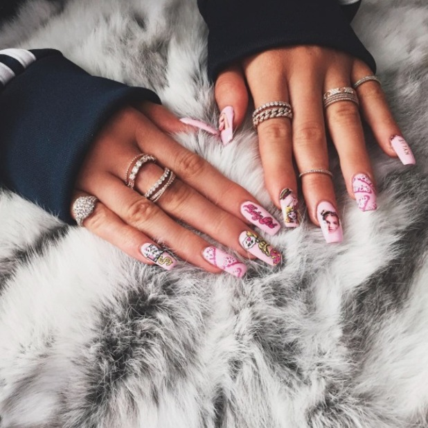 Kylie Jenner shares picture of her Barbie nails on Instaram 24th September 2015
