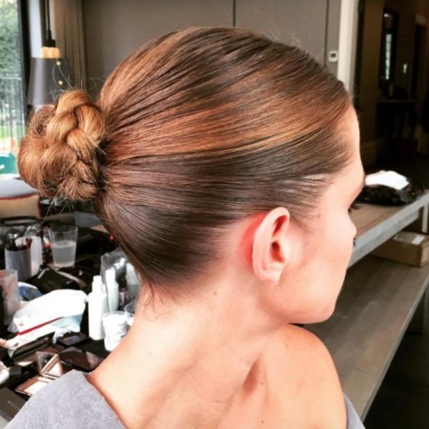 Millie Mackintosh wears a braided slick bun at Giles Deacon SS16 show, LFW, 21 September 2015