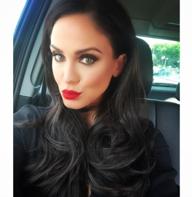 Vicky Pattison takes selfie on the way to London Fashion Week SS16 shows, 19 September 2015