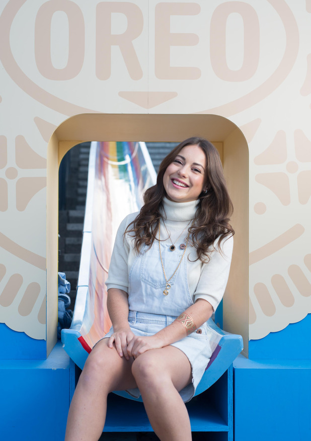 MIC's Louise Thompson at the olden Oreo Slide event in London's Canary Wharf, 25th September 2015