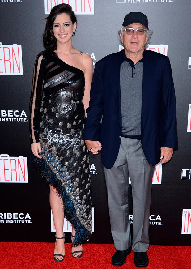 """The Intern"" New York Premiere at The Ziegfeld Theater Anne Hathaway and Robert DeNiro"