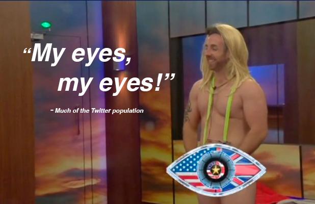 Stevi Ritchie shocks Bobby Davro in neon mankini in the Celebrity Big Brother house. 15 September 2015.