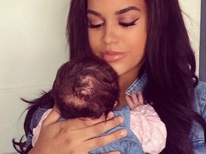 Lateysha Grace and daughter Wynter in matching denim 28 September