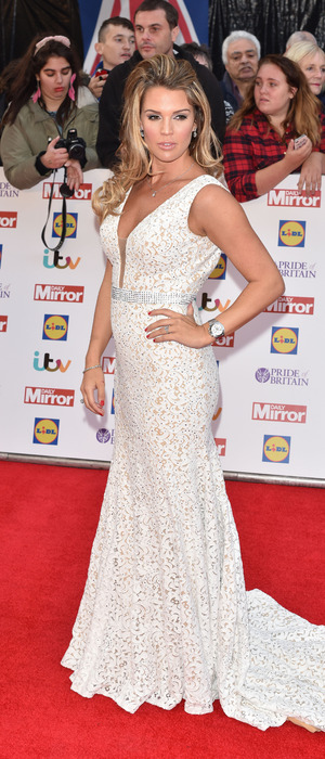 Danielle Lloyd in bridal-inspired dress at the Pride of Britain Awards 29th September 2015