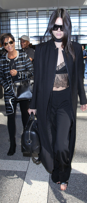 Kendall Jenner and Kris Jenner at L.A.X International airport in L.A, 29th September 2015