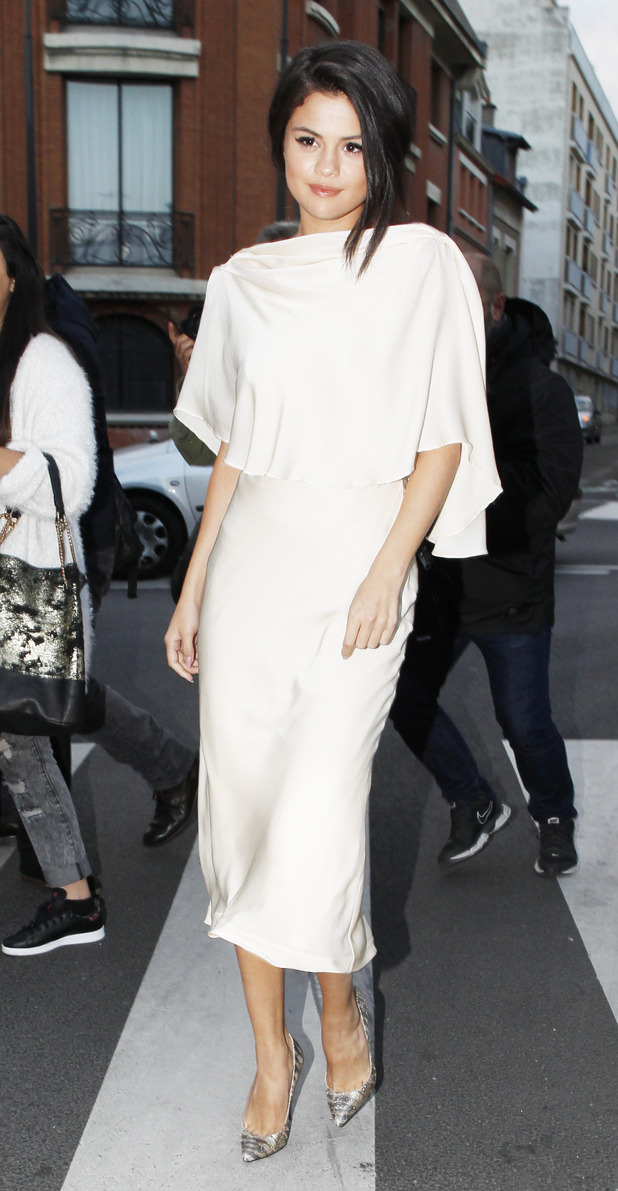 Selena Gomez wearing white out and about in Paris, 28th September 2015