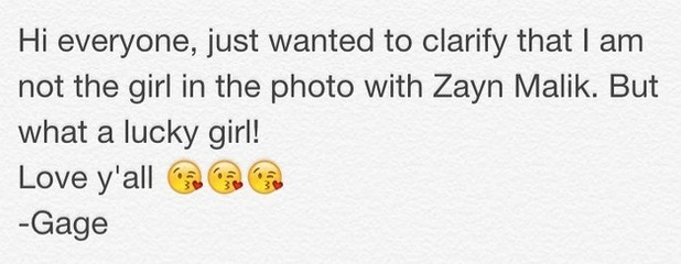 Gage Golightly clarifies she's not the mystery girl Zayn Malik posed with in a recent Instagram photo, 27th September 2015